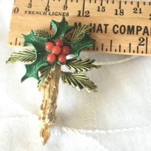 Poinsettia Brooch Vtg Christmas Candle pin 🌸